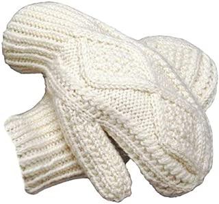 100% Irish Merino Wool Hand Knitted Cream Mittens by West End Knitwear