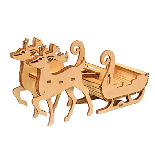 Christmas 3D Puzzle, Cute Reindeer Sled Christmas Socks Multifunctional Mobile Phone Holder Pen Holder 3D Wooden Jigsaw Puzzle Toy DIY Building Model Christmas Decoration Educational Toy Kids Gift