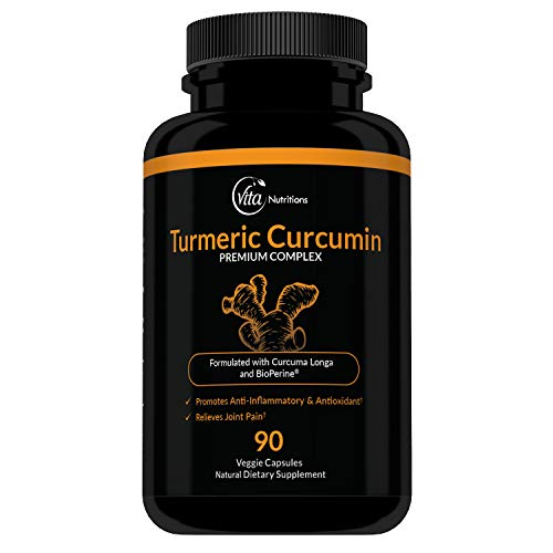 VitaNutritions Non-GMO Turmeric Curcumin with BioPerine, 90 Veggie Capsules with 95% Curcuminoids for Healthy Joints & Strong Immune System