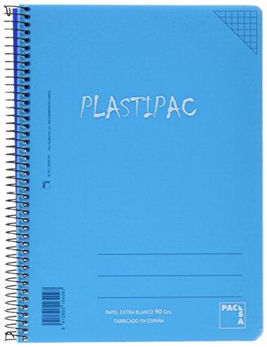 Plastipac - Cuadernos espiral, cuarto 80 hojas, cuadricula 4 x 4 cm ( A5), 5 unidades