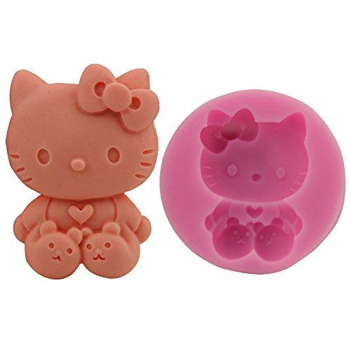 XIAOM Kuchenform Süße Katze Kuchen Silikonform Schokolade Mousse Flip Zucker Backen Formtropfenkleber Gips DIY Seifenform