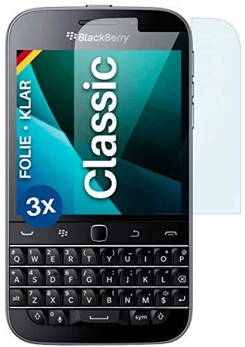 moex Klare Schutzfolie kompatibel mit BlackBerry Classic - Bildschirmfolie kristallklar, HD Bildschirmschutz, dünne Kratzfeste Folie, 3X Stück