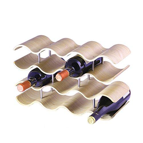 unho Botelleros de Madera para Vino Estante con 4 Niveles para 14 Botellas de Vino Expositor de Vinos 42 x 25 x 16 cm