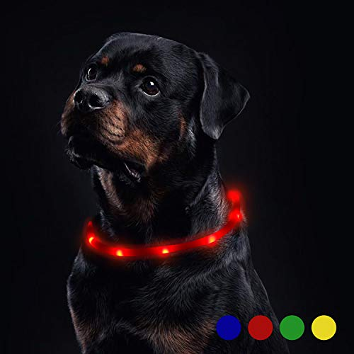 Toozey Luminoso Collares para Perro LED Durante 20 Horas de Luz Continua Impermeable, USB Recargable Cortable Tira de Luz para Collar de Perro de Seguridad Nocturna - 3 Modo (Rojo)
