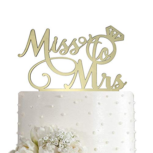Miss To Mrs Cake Topper - Bridal Shower, Mr and Mrs Wedding/Engagement/Marriage Party Decoration, Mirror Gold Acrylic