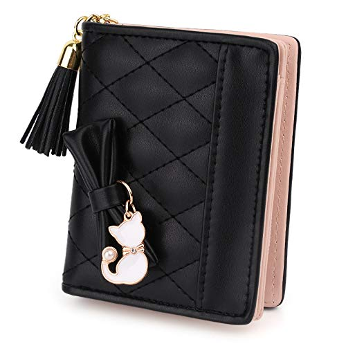 UTO Women PU Leather Small Wallet Cat Pendant Card Phone Holder Zipper Coin Purse Black