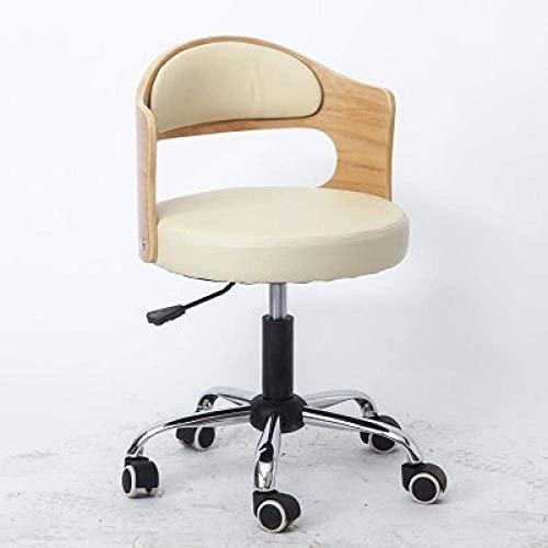 QLIGAH Taburete de pie por Oficina sobre Ruedas, Taburete del Taller con Asiento de Cuero sintético Blanco, Altura Ajustable 43-53 cm, Peso Compatible 160 kg