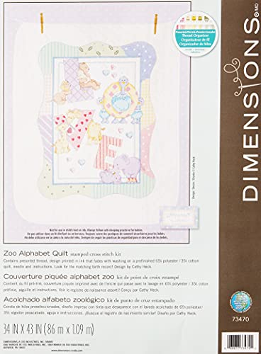 """DIMENSIONS Stamped Cross Stitch 'Zoo Alphabet' DIY Baby Quilt Kit, 34"""" x 43"""""""