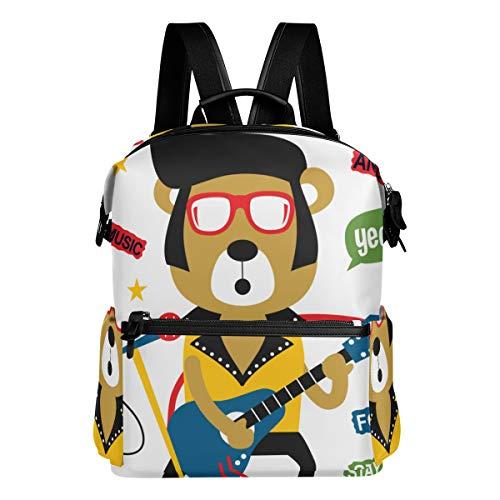 KIMDFACE Mochila,Oso tocando Guitarrock N Rollfunny Animal,Bolsos para portátil Bolso de hombro con estampado informal estudiantes universitarios Viajes Senderismo Paquetes de camping(29*16*38 cm)