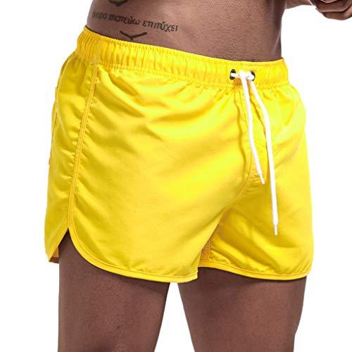 sunnymi - Pantalones cortos para hombre, primavera y verano amarillo L