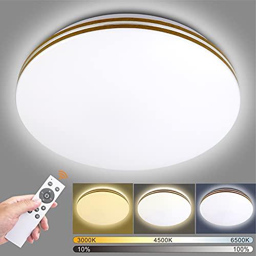 Lámpara de techo LED de 36 W, regulable con mando a distancia, color de luz y brillo ajustables, 3000 K-6500 K, 3960 lm, ideal para cocina, dormitorio, balcón, pasillo, baño, salón