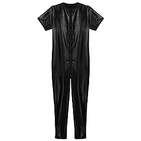 TiaoBug Men's Stretchy Faux Leather Short Sleeves Bodysuit Zipper Zentai Leotard