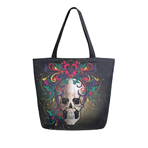 NaiiaN Handtaschen für Frauen Mädchen Damen Student Schädel Blumenhaar Einkaufstasche Umhängetaschen Geldbörse Einkaufen Marienkäfer Leichtgewicht Gurt