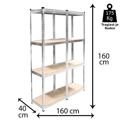 Grafner® Doppeltes Schwerlastregal 8 Ebenen Werkstattregal 1,60m Kellerregal Steckregal bis 1400 kg Doppelschwerlastregal