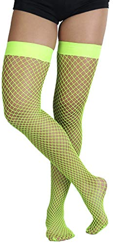 ToBeInStyle Women's Versitile and Stylish Everyday Fishnet Thigh Highs - Green - OSR