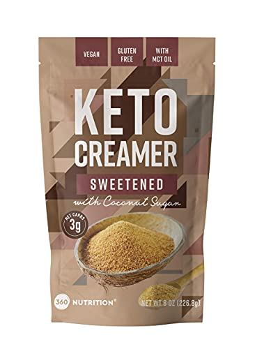 360 Nutrition KETO Creamer With MCT Oil | Sweetened with Coconut Sugar | Dairy Free Coffee Creamer Milk Substitute (8oz)
