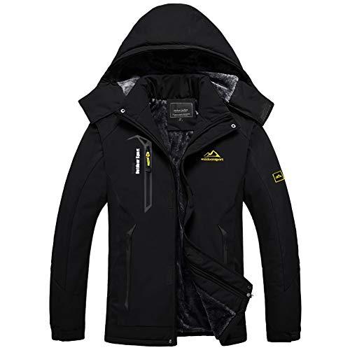 BIYLACLESEN Tactical Jackets for Men Climbing Jacket Mountain Jacket Winter Coats for Men Rain Jacket Mens Parka Jacket Men Pure Black