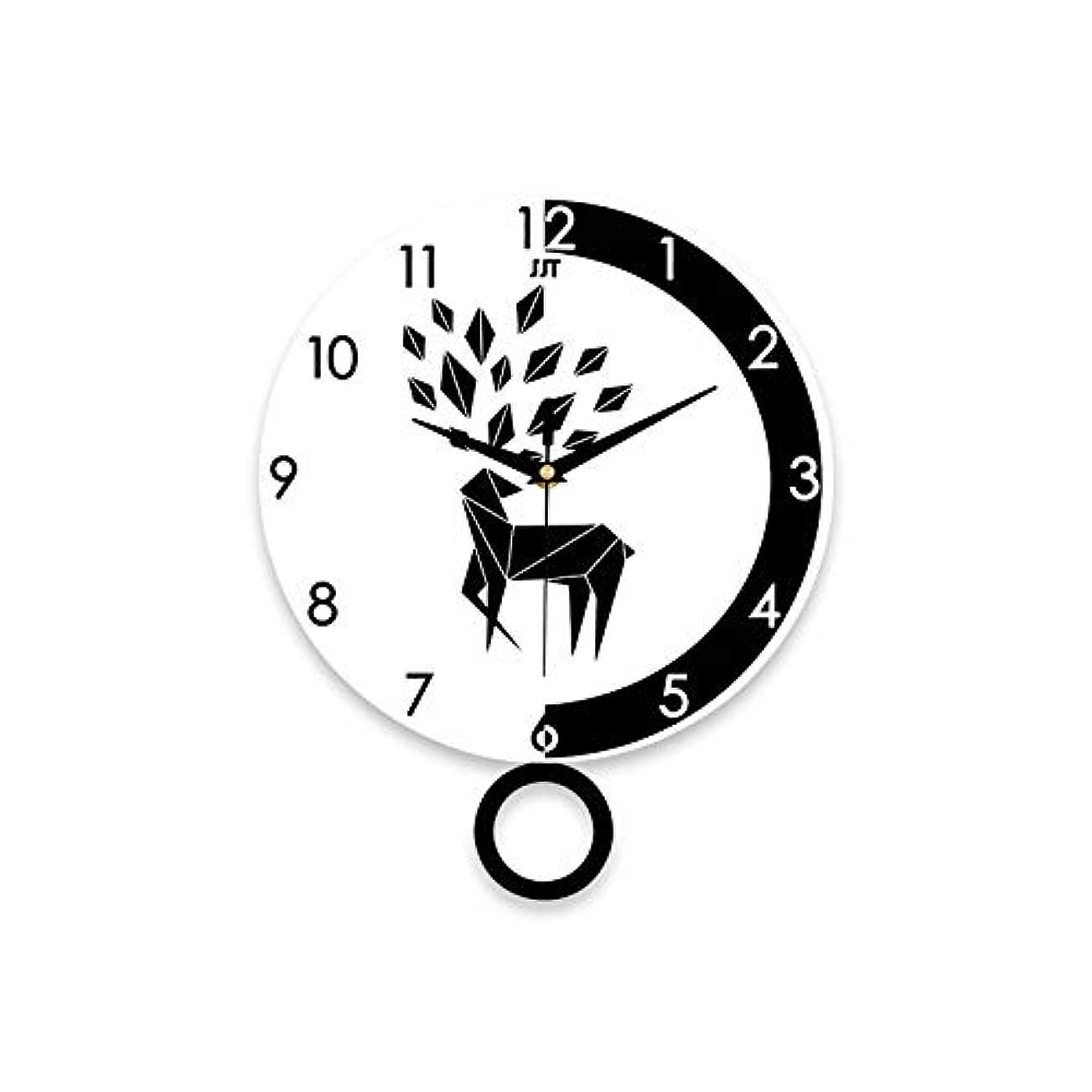 ズーム八アークウォールクロックシンプルモダン鹿グラフィックサイレントクォーツウォールクロックリビングルームホームデコレーションツールぶら下げ時計
