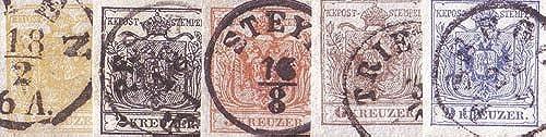 Goldhahn  erreich Nr. 1-5X gestempelt Wappen Freimarken 1850