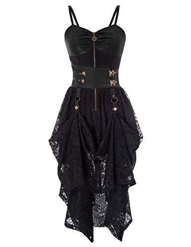 SCARLET DARKNESS Damen Slip Kleid Gothic Steampunk PU Leather Lace High-Low Saum Kleid Halloween Kleid L Schwarz SL88-1