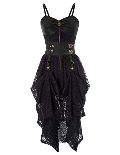 SCARLET DARKNESS Damen Steampunk Victorian Faux Leather High-Low Saum Lace Kleid 2XL Schwarz SL88-1