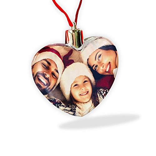 Gifty Lab Palla di Natale a Forma di Cuore, Personalizzata con Stampa, per Albero di Natale o per la casa, portafoto a Forma di Cuore con nastrino Rosso - 7x9 CM.