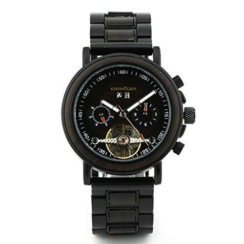 Edenholz Borneo - Reloj de pulsera automático de madera para mujer (indicador de fecha)