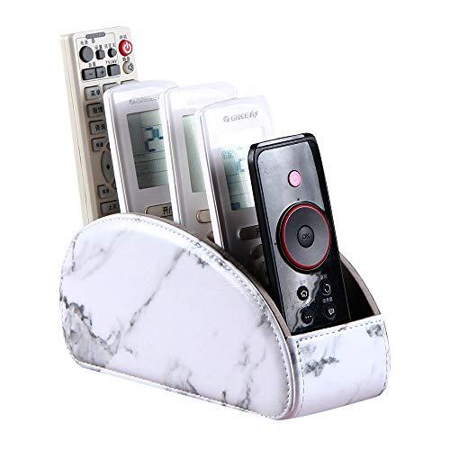 Supporto per telecomando con 5 scomparti, in pelle sintetica, organizer da scrivania, per TV, DVD, Blu-Ray, lettore multimediale, controller riscaldatore, colore: nero, FX-0001, Marmo bianco.