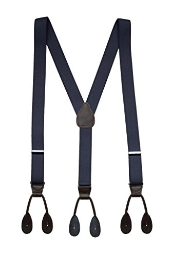 Hold'Em Suspender for Men Made in USA Y-Back Leather Trimmed button end tuxedo suspenders Many colors and designs - Navy (Regular 46' Long)
