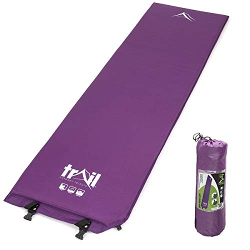 Trail Self Inflating Camping Mat Single Inflatable Mattress 3cm With Bag Purple