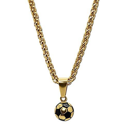 tumundo Edelstahl Gliederkette Panzerkette Halskette Fußball Ball Football WM Ketten-Anhänger Golden Silbern Fan Artikel, Farbe:golden