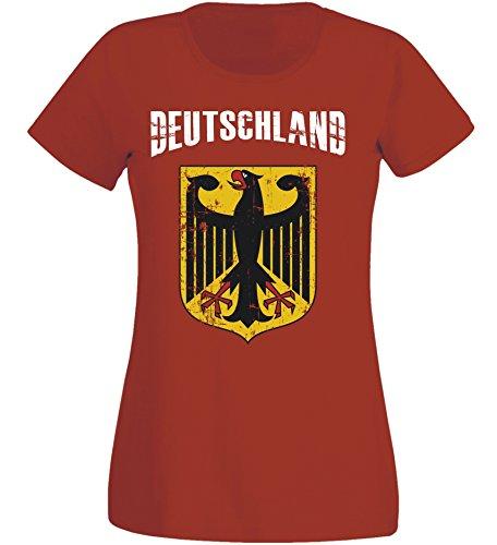 Damen T-Shirt Deutschland WM 2018 .- Vintage Destroy Rot Wappen D01 (L)