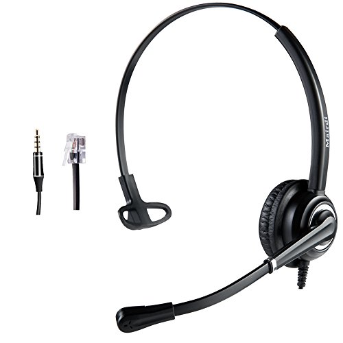Telephone Headset with RJ9 Jack & 3.5mm Connector for Landline Deskphone Cell Phone PC Laptop, Office Headset for Cisco IP Phone Call Center Office, Work for Cisco 7941 7965 6941 7861 8811