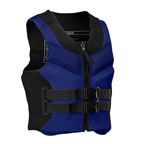 liangfudianzi Professional Adult Life Jacket Swimming Equipment Survival Boat Buoyancy Vest Water Sports Life Jacket and Vest for Surfing, Skiing, Boating, Fishing (Blue, L)