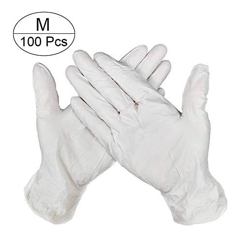 NA 100 guanti usa e getta in lattice di nitrile senza polvere, guanti da lavoro per cucina, giardino, manicure, Nitrile, bianco, medium