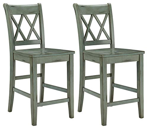 Signature Design by Ashley - Mestler Bar Stool - Counter Height - Vintage Casual Style - Set of 2 - Blue/Green