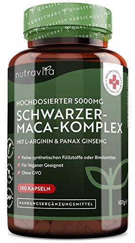 Schwarzer-Maca-Wurzel-Komplex 5000mg - 180 vegane Kapseln - Sehr starker Schwarzer-Maca-Komplex mit L-Arginin und Panax Ginseng - getestet und zertifiziert in Deutschland - 6 Monatsvorrat