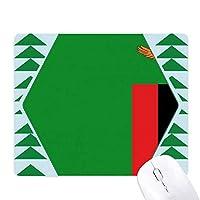 ザンビア国旗のアフリカの国 オフィスグリーン松のゴムマウスパッド