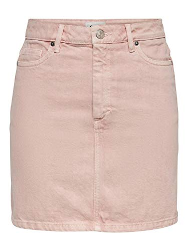ONLY Damen kurzer Jeans-Rock, OnlyRose A-Shape Color Skirt PNT, Farbe:Rosa, Größe:38