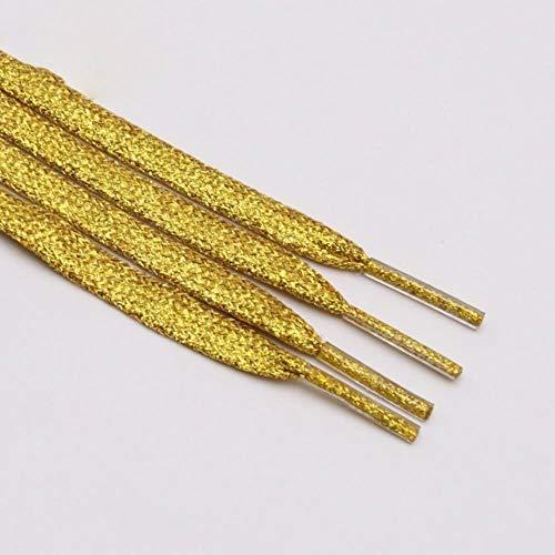 BTKNOO Flat Glitter Schnürsenkel Shiny Fashion Sparkly Schnürsenkel Weihnachten Farben Chic Shimmering 7mm Metallic Bootlaces, 2353 Gold, 150cm