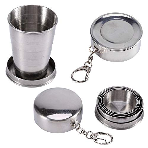 Stainless Steel Collapsible Cup with Protective Cap, Portable Travel Folding Cup Camp Keychain Retractable Telescopic Cup Outdoor 75ml
