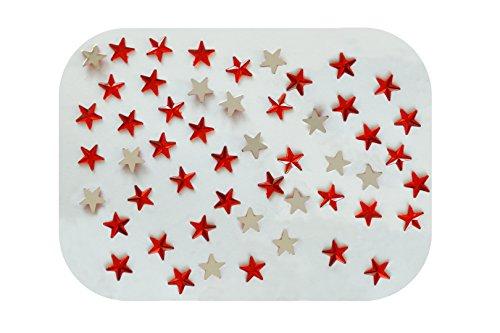 Sachet DE 30 Perles Strass Acrylique A Coller Forme Etoile Rouge A FACETTES - Livraison Gratuite - Creation