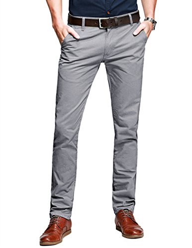 Match Mens Slim-Tapered Flat-Front Casual Pants(Medium Gray,29)