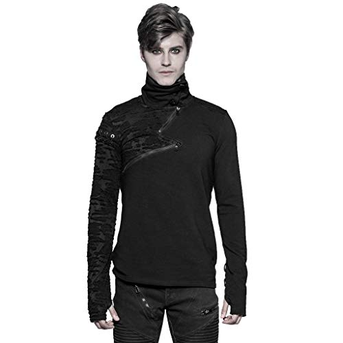 Punk Rave Herren Schwarz Gothic High Collar Langarm T-Shirt S-Form Casual Tops L-XL