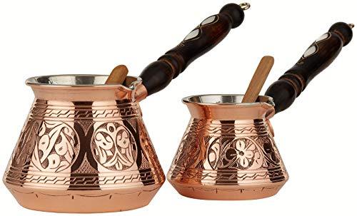 2 Pcs DEMMEX 2mm Engraved Copper Turkish Greek Arabic Coffee Pot Set Stovetop Coffee Maker Cezve Ibrik Briki with Wooden Handle & Wooden Spoon, 8 & 15 Ounces