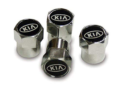 Metal Chrome Tyre Valve Dust Caps. Set of 4. Sportage Sorento Picanto Optima Rio Stinger Ceed Niro Stonic Venga