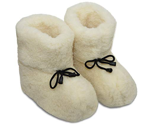 ESTRO Chausson Hiver Femmes Unisexe Pantoufles Laine Bottes Hommes Semelles Antidérapantes OLE (Naturel, Numeric_38)