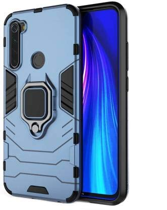 Zivite Shockproof Soft TPU and Hard PC Back Cover Case with Ring Holder for Redmi Note 8 - Armor Grey