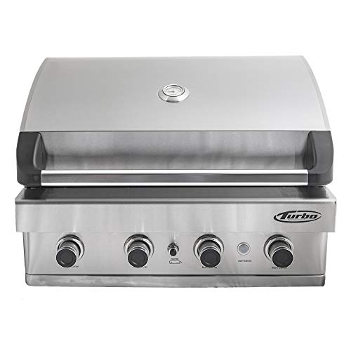 Barbeques Galore Turbo 32-inch 4-Burner Built-In BBQ Gas Grill - Propane - BTH3216BLP Grills Smokers