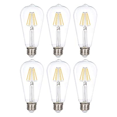 Simba Lighting LED Edison Vintage Filament ST21 (ST64) Light Bulbs (6 Pack) 6W Dimmable 60W Equivalent Clear Glass Decorative Antique Retro, Standard Medium E26 Base, UL Listed, Warm White 2700K